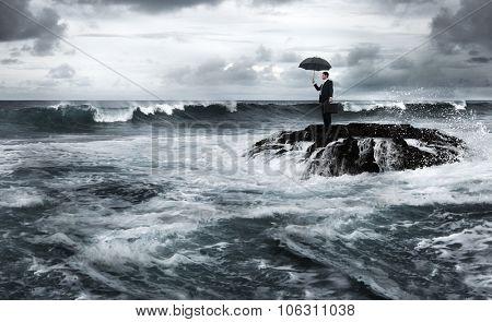Business Despair Depression Coastline Danger Concept