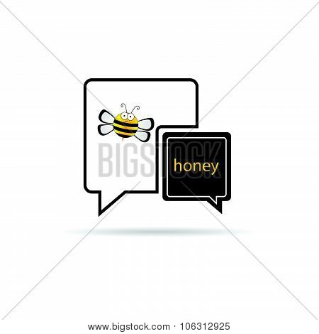 Bee With Honey Yellow Speech Bubble Vector