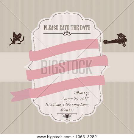 Wedding invitation with airplane
