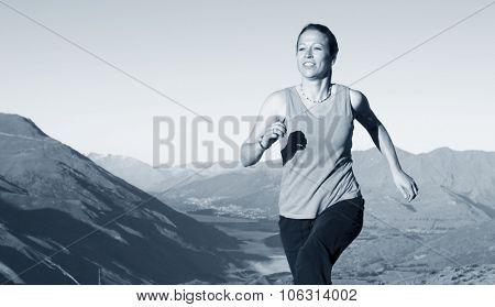 Woman Jogging Exercise Mountain Range Concept