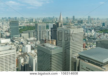 Cityscape Of Tokyo Skyscrapers In Shinjuku Financial District, Japan
