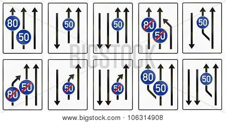 Collection Of Information Signs About Lanes With Minimum Speeds Used In Germany