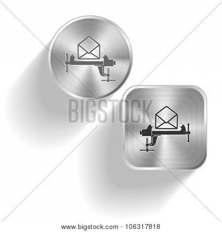 open mail with clamp. Raster set steel buttons