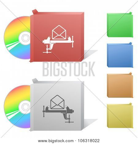 open mail with clamp. Box with compact disc. Raster illustration.