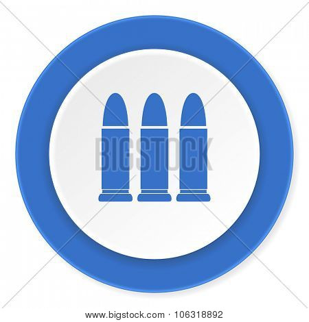 ammunition blue circle 3d modern design flat icon on white background