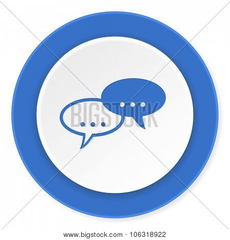 forum blue circle 3d modern design flat icon on white background