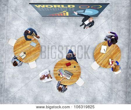 Business People Presentation Studying World Economy Statistics Concept