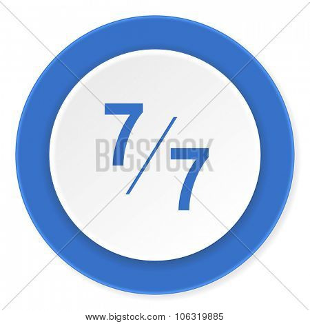 7 per 7 blue circle 3d modern design flat icon on white background