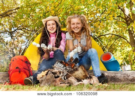 Two girls roasting smores near fireplace