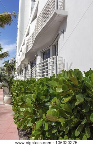 Wall Of White Building Of Classic Style In Miami Beach, Florida