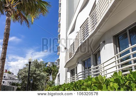White Building Of Classic Style In Miami Beach, Florida