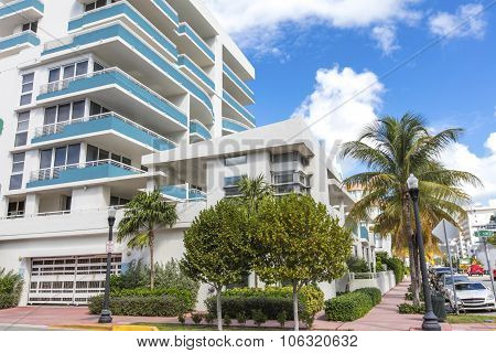 White And Blue Building In Ocean Drive. Miami Beach, Florida