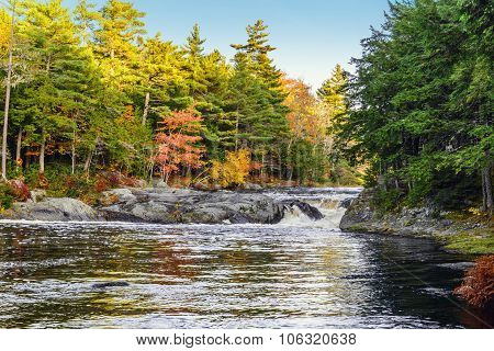 Mill Falls Along The Mersey River In Fall