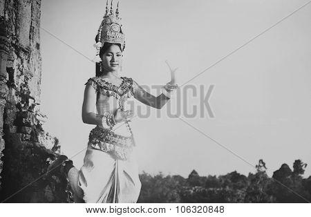 Aspara Dancer Angkor Wat Traditional Woman Concept