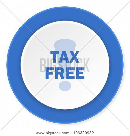 tax free blue circle 3d modern design flat icon on white background