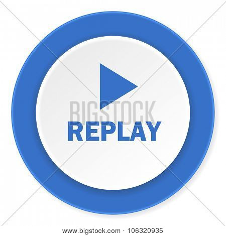 replay blue circle 3d modern design flat icon on white background