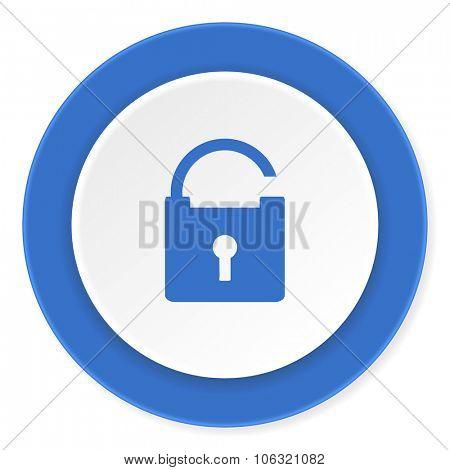 padlock blue circle 3d modern design flat icon on white background