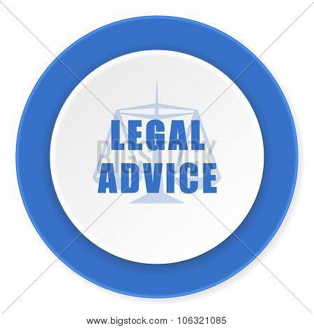 legal advice blue circle 3d modern design flat icon on white background