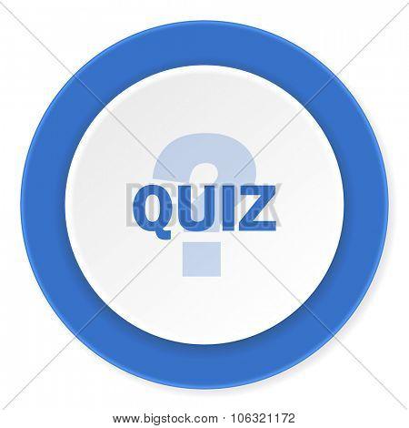 quiz blue circle 3d modern design flat icon on white background