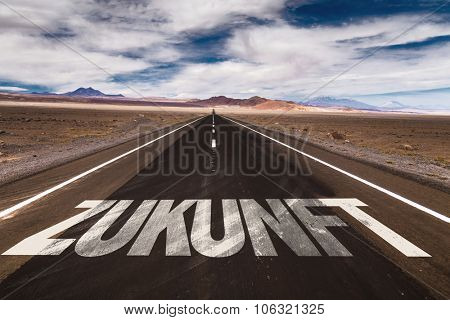 Future (in German) written on desert road