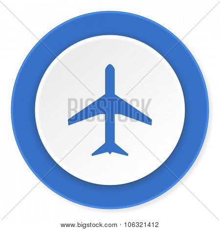 plane blue circle 3d modern design flat icon on white background