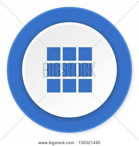 thumbnails grid blue circle 3d modern design flat icon on white background