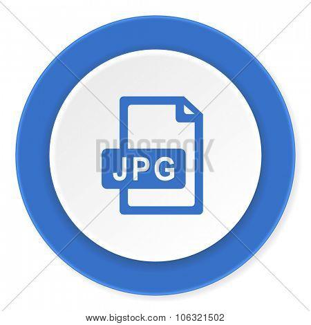 jpg file blue circle 3d modern design flat icon on white background