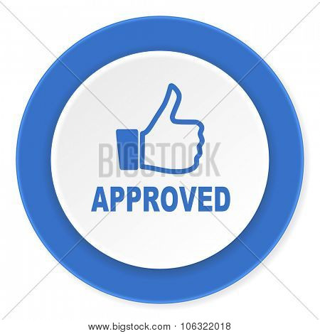 approved blue circle 3d modern design flat icon on white background