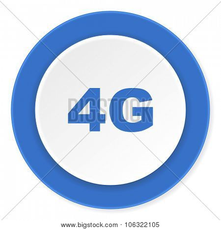 4g blue circle 3d modern design flat icon on white background