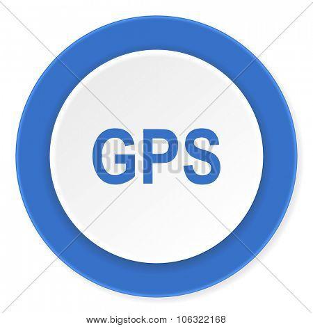 gps blue circle 3d modern design flat icon on white background