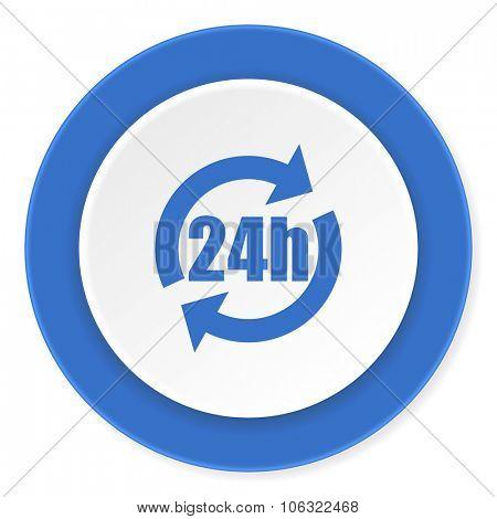 24h blue circle 3d modern design flat icon on white background