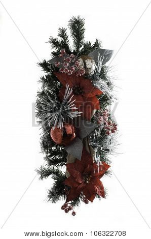 Holiday Wood Branch Ribbon Pine Decoration