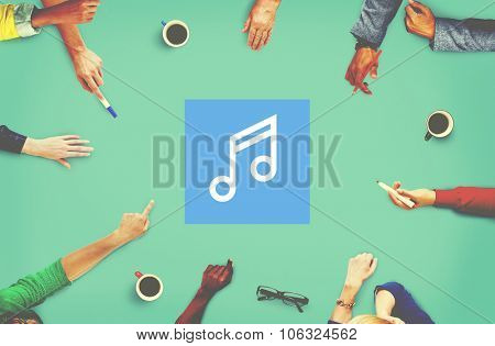 Melody Music Sound Key Artistic Icon Sign Concept
