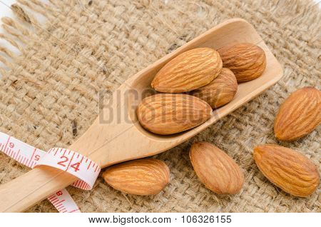 Almond And Measuring Meter.