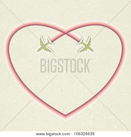 Romantic card with two flying aircraft and followed as a pink heart.
