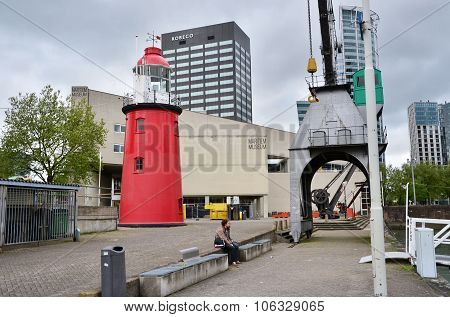 Rotterdam, Netherlands - May 9, 2015: People Around Maritime Museum In Rotterdam