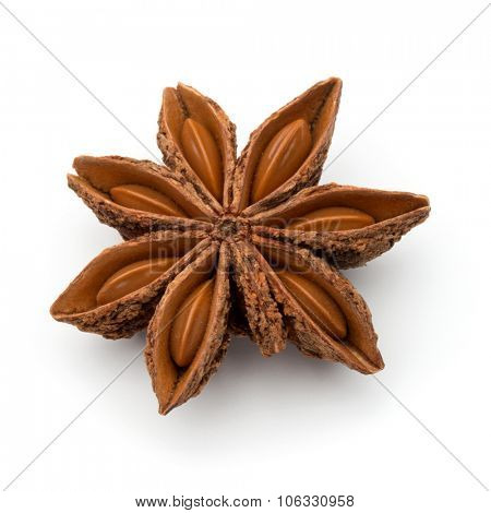 Star anise spice fruit and seeds isolated on white background closeup