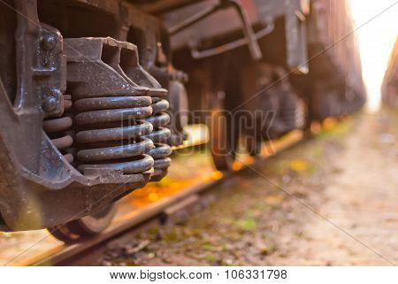 Focus On The Wheels Freight Train Is On The Tracks