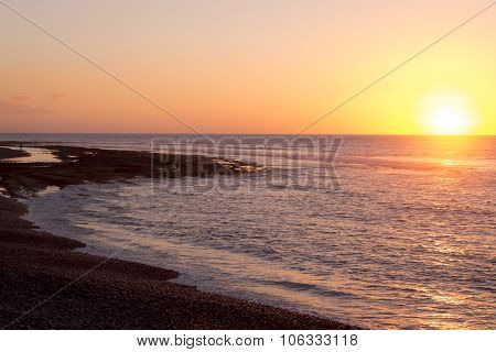 Bright Sunset On The Coast, Tenerife, Canary Islands, Spain