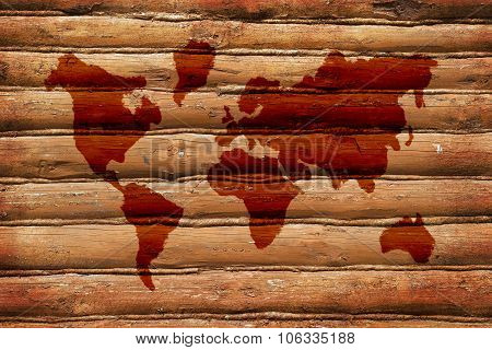 Wooden Wall And The Image Of A World Map