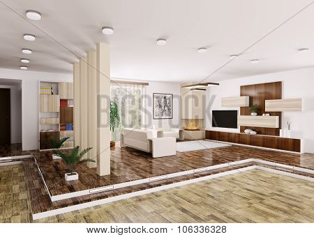 Interior Of Modern Apartment 3d rendering