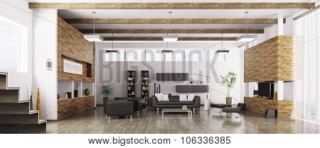 Interior Of Modern Living Room Panorama 3d rendering
