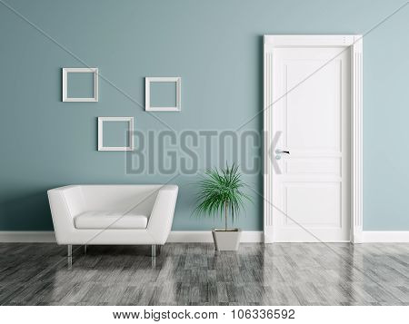 Interior With Door And Armchair 3d rendering