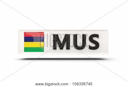 Square Icon With Flag Of Mauritius