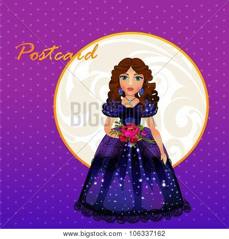 Doll Princess in blue evening dress
