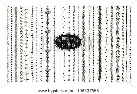 Vector Set Of Floral And Geometric Decorative Brushes.
