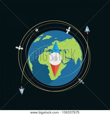Compass flat design vector illustration
