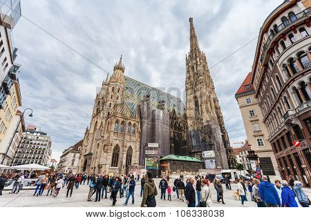 Tourists On Stephansplatz, Vienna
