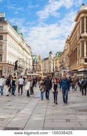 Tourists On Graben Street In Vienna
