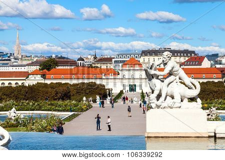 Tourists Walk To Lower Belvedere Palaces, Vienna